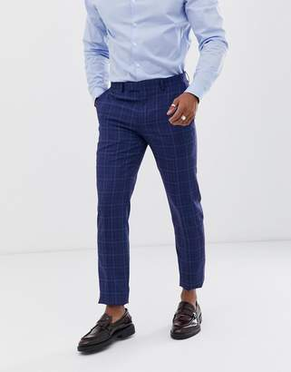 Harry Brown slim fit bright blue over check suit pant
