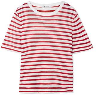 Alexander Wang Striped Slub Stretch-jersey T-shirt - Red