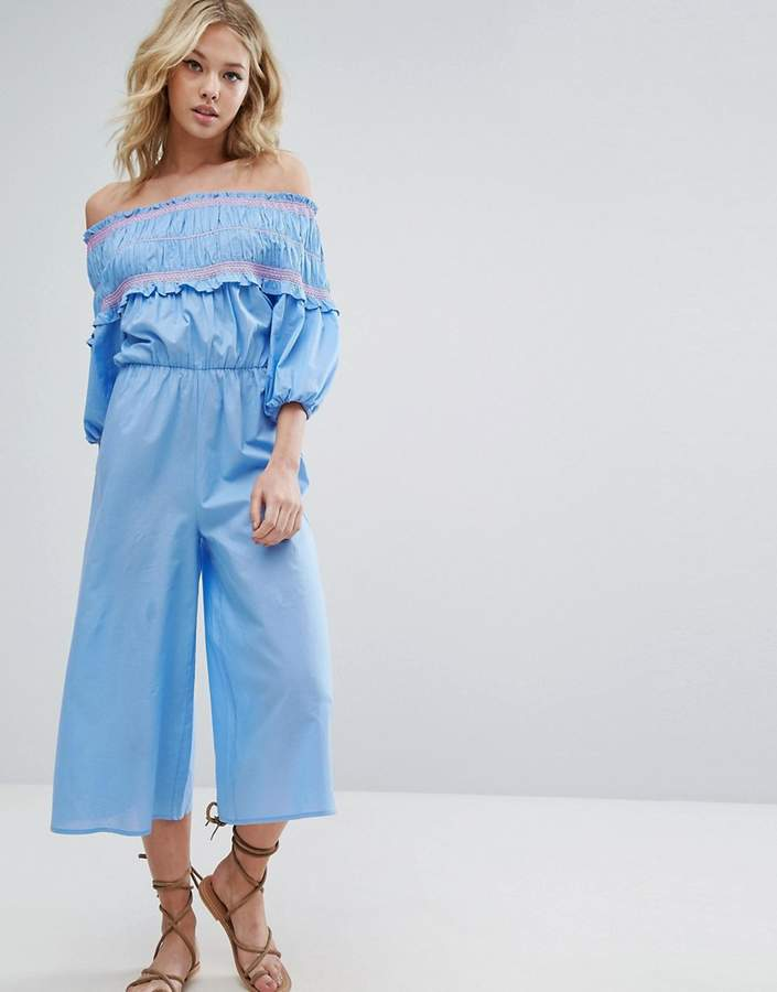 AsosASOS Off Shoulder Jumpsuit with Shirring and Embroidery