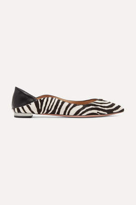Aquazzura Zen Zebra-print Calf Hair Collapsible-heel Point-toe Flats - Zebra print