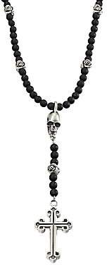 King Baby Studio Men's Onyx Beaded Rosary Necklace
