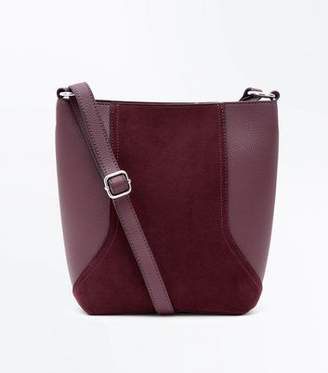 New Look Burgundy Suedette Panel Bucket Bag