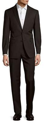 Calvin Klein Solid Charcoal Wool Suit