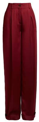 Valentino High Rise Wide Leg Silk Satin Trousers - Womens - Burgundy