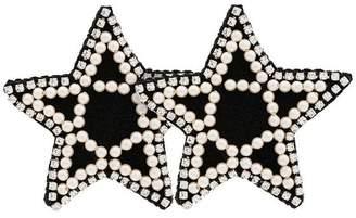 Venessa Arizaga black crystal and pearl embellished star earrings
