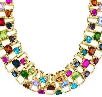 "Aqua Multicolored Square Stone Statement Necklace, 16"" - 100% Exclusive"