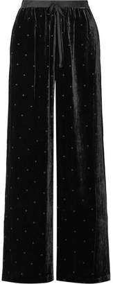 Ulla Johnson Maia Grosgrain-trimmed Swiss-dot Velvet Wide-leg Pants - Black