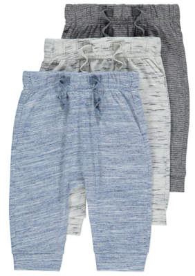 George Blue and Grey Marl Joggers 3 Pack