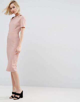 Asos Design Textured Structured Dress with Cut Outs