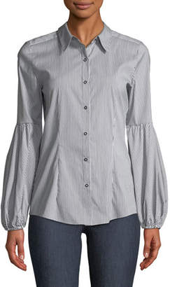 Elie Tahari Verona Striped Poplin Blouse