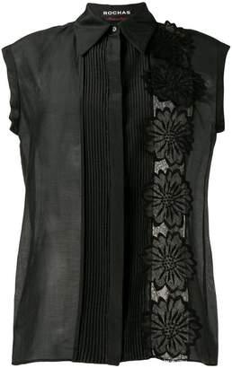 Rochas flower appliqué sleeveless shirt