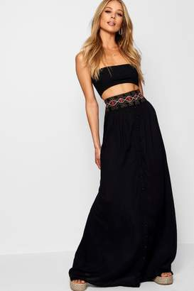 boohoo Woven Embroidered Button Through Maxi Skirt