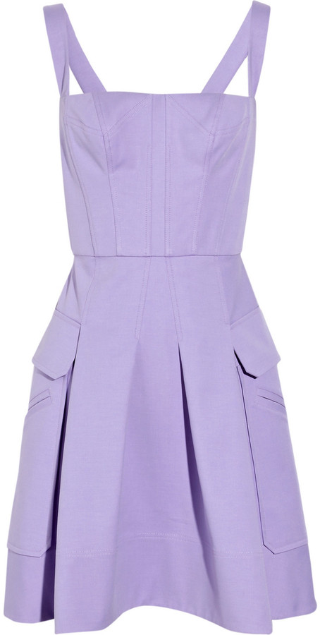Versace Pleated stretch-cotton dress
