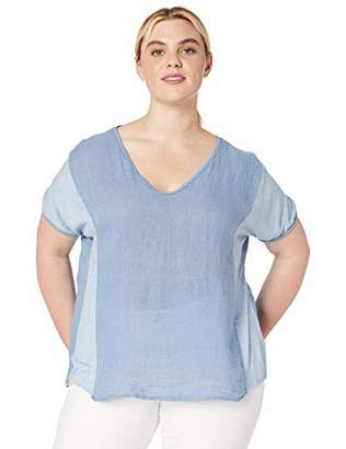 M Made in Italy Women's Plus Size Linen Short Sleeve Top