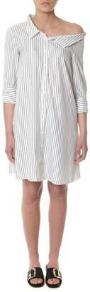 Dondup Black And White Asymmetric Shirt Dress