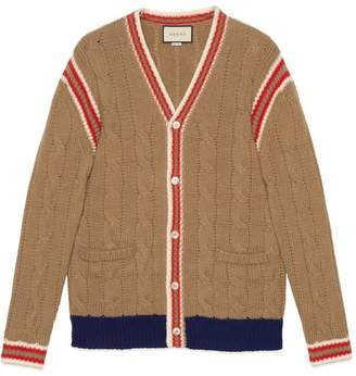 Gucci Cable knit wool cardigan