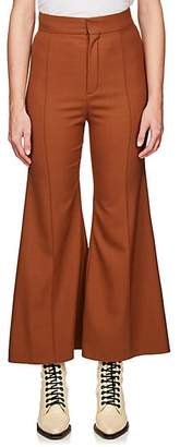 Chloé Women's Flared Stretch-Virgin Wool Trousers - Brown