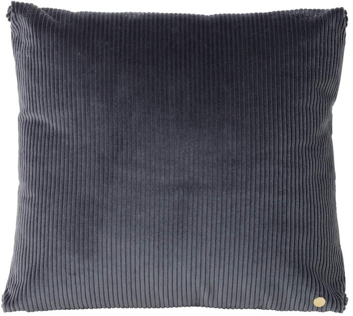 ferm living - Corduroy Kissen, 45 x 45 cm, Dunkelgrau