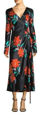 Diane von Furstenberg Floral Long Sleeve Woven Silk Wrap Dress