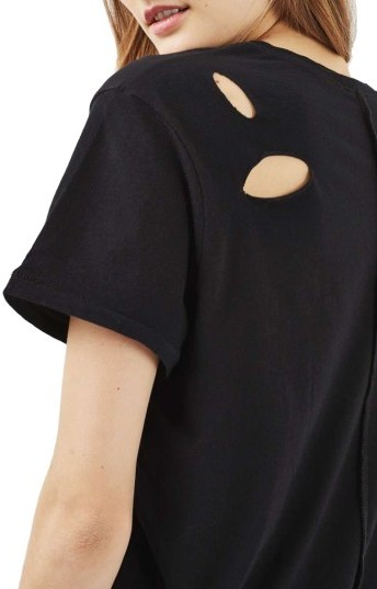 Women's Topshop Ripped Cotton Tee 5
