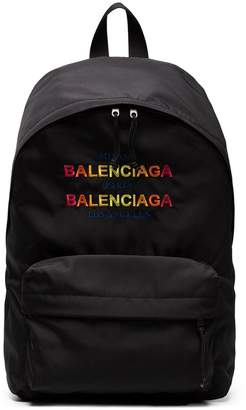 Balenciaga Black Logo Explorer Backpack