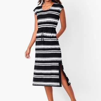 Talbots Tie-Waist Stripe Midi Dress