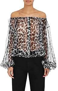 Saint Laurent Women's Leopard-Print Silk Blouse-Black, Grey