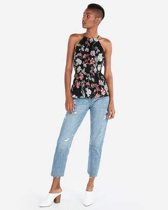 Express Floral High Neck Smocked Peplum Tank