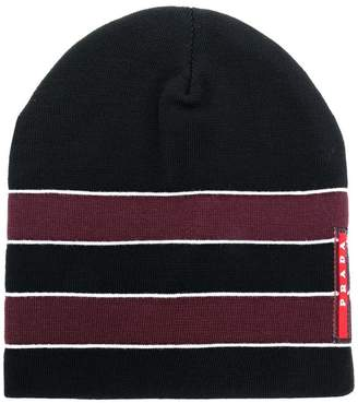 Prada knit striped beanie