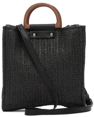 Most Wanted USA Wooden Handle Straw Crossbody Bag