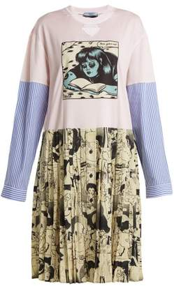 Prada Comic Print Cotton Jersey And Silk Dress - Womens - Pink Multi