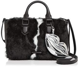 KENDALL + KYLIE Claire Leather & Faux Fur Satchel