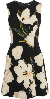 Dolce & Gabbana - Floral-print Wool-crepe Mini Dress - Black $1,995 thestylecure.com