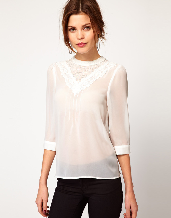 Warehouse Victoriana Lace Shell Top