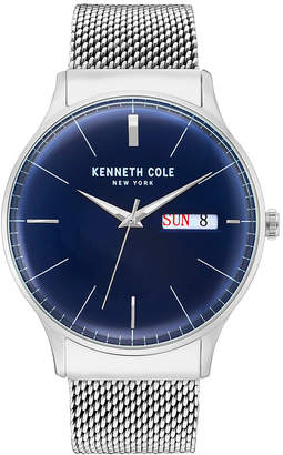 Kenneth Cole New York Men Silver Mesh Bracelet Watch 43mm