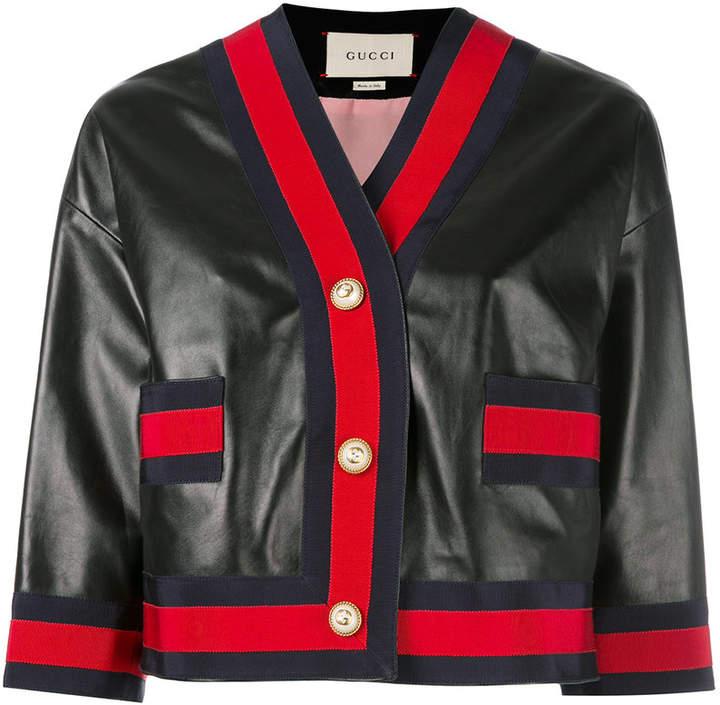 Gucci Web trim leather jacket