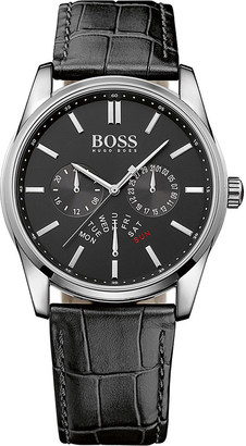HUGO BOSS 1513124 heritage stainless steel and leather watch $188 thestylecure.com