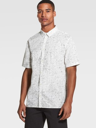 DKNY Floral Print Short-Sleeve Button-Up