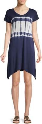 Andrew Marc Tie-Dye Mini T-Shirt Dress