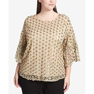 Calvin Klein Women's Plus Size Embroidered Net Bell Sleeve Top