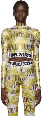 Versace Gold Metallic Barocco Crop Turtleneck