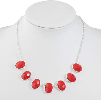 Liz Claiborne Womens Red Oval Collar Necklace