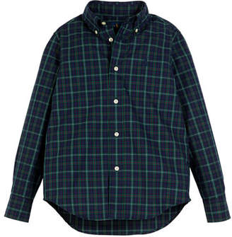 Ralph Lauren Poplin Plaid Button-Down Shirt, Size 5-7