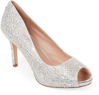 Ralph Lauren Lorraine Silver Paula Embellished Peep Toe Pumps