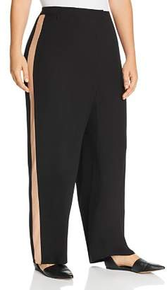 Eileen Fisher Plus Silk Tuxedo Stripe Straight Pants