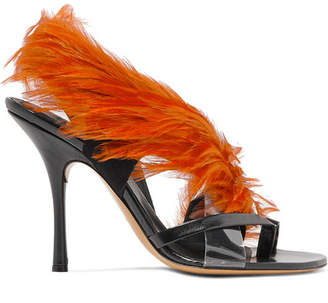 1a15e9b464d17 Dries Van Noten Feather-embellished Pvc And Leather Sandals - Brown