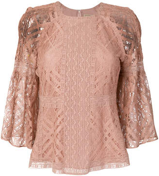Burberry bell sleeve lace blouse