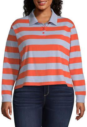 Arizona Long Sleeve Stripe Knit Polo Shirt - Juniors Plus