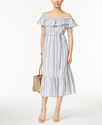 Grace Elements Cotton Chambray Off-The-Shoulder Dress $90 thestylecure.com