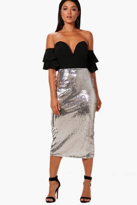 boohoo Georgia All Over Sequin Long Line Midi Skirt